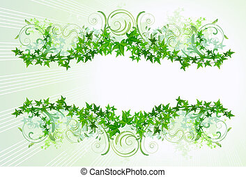 Ivy Frame - Ivy decoration on a light green background. Top...