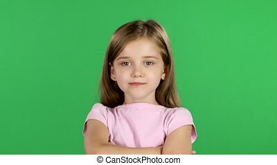 Child sighs heavily, she is tired. Green screen - Baby girl...
