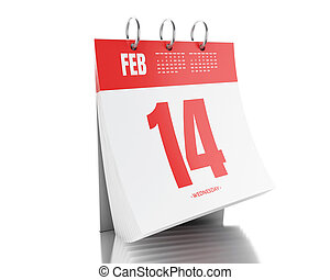 3d Day calendar with date February 14, 2017