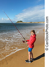Girl Fishing - Newcastle Harbour - New South Wales -...