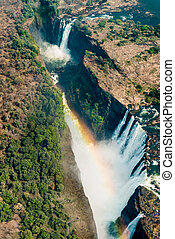 Victoria Falls in Zimbabwe at drought, aerial shot made from...