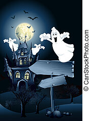 Halloween Ghosts - Halloween ghosts and a signpost in front...