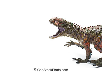 Carcharodontosaurus toy on a white background with copy space