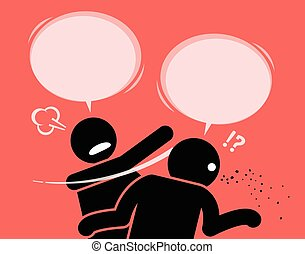 A man slaps his friend for talking nonsense. - He is angry...