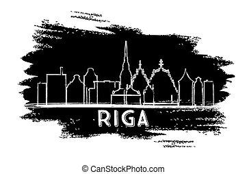 Riga Latvia Skyline Silhouette. Hand Drawn Sketch.