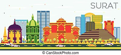 Surat Skyline with Color Buildings and Blue Sky. Vector...