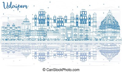 Outline Udaipur India Skyline with Blue Buildings and Reflections.