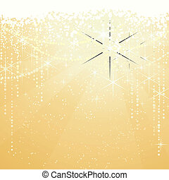 Festive golden background with sparkling stars for special occasions. Great as Christmas or New years background.