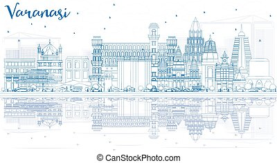 Outline Varanasi India Skyline with Blue Buildings and Reflections.