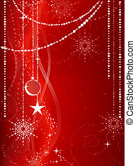 Festive red Christmas background with stars, snow flakes, baubles and grunge elements.