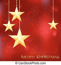 Festive red Christmas background with golden stars, snow...