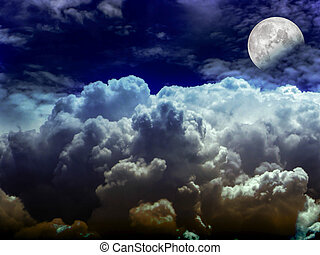 half moon heap white cloud in the night sky, Elements of...