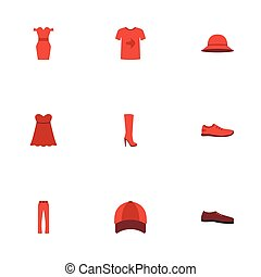 Flat Icons Sundress, Casual, Man Footwear And Other Vector Elements. Set Of Garment Flat Icons Symbols Also Includes Pants, Shoe, Hat Objects.