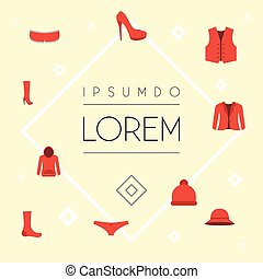 Flat Icons Sweatshirt, Heeled Shoe, Boots And Other Vector Elements. Set Of Garment Flat Icons Symbols Also Includes Hoodie, Underwear, Coat Objects.