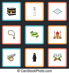 Flat Icons Muslim Woman, Mecca, Arabic Calligraphy And Other...
