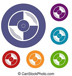Vinyl record icons set in flat circle red, blue and green...