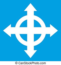 Arrows target icon white isolated on blue background...