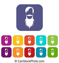 Male avatar with beard icons set illustration in flat style...