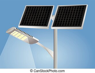 Street light with solar panel vector