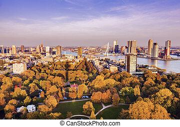 Aerial panorama of Rotterdam