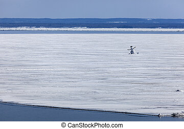 Snowman on the Lake Superior in Duluth