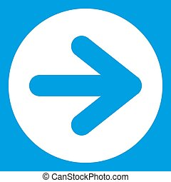 Arrow in circle icon white isolated on blue background...