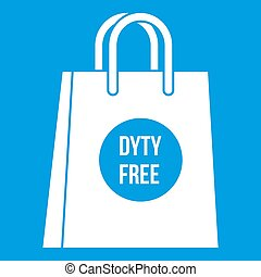 Duty free shopping bag icon white isolated on blue...