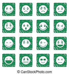 Emoticon icons set grunge - Emoticon icons set in grunge...