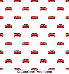 Red sport car pattern seamless repeat in cartoon style...