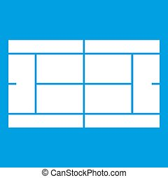 Tennis court icon white isolated on blue background...