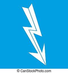 Arrow lightning icon white isolated on blue background...