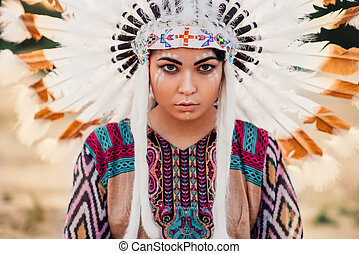 Face of American Indian woman, Cherokee, Navajo - Face of...
