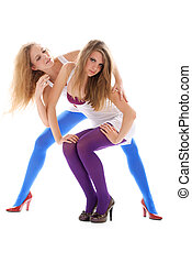 Two young woman in colour stockings
