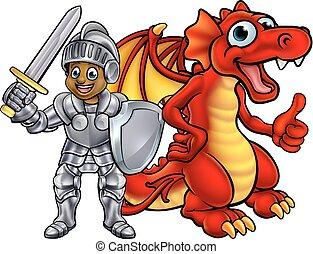 Cartoon Knight and Dragon