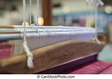 Traditional loom machine for weave Thai silk - Traditional...