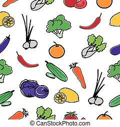 Vegetable Pattern Seamless  background.