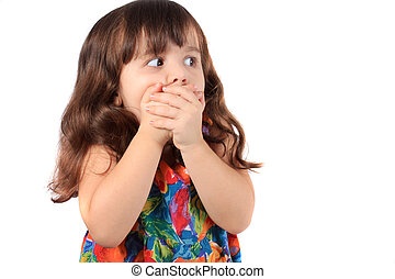 Astonished young girl - Three year old brunette caucasian...