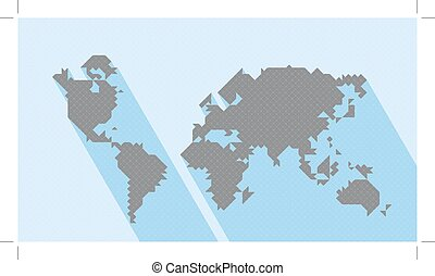 Geometric Map World. Vector map of world with trendy...