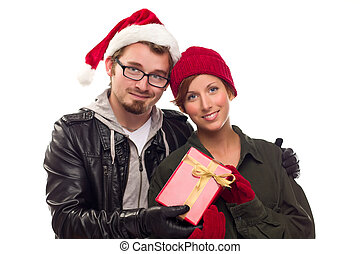 Warm Attractive Young Couple with Holiday Gift