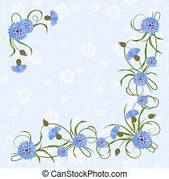 Corner composition with cornflowers and leaves. - Corner...