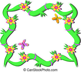 Frame of Plants, Flowers, Butterfly