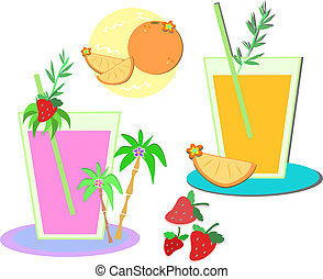 Mix of Fruit Drinks and Fruits