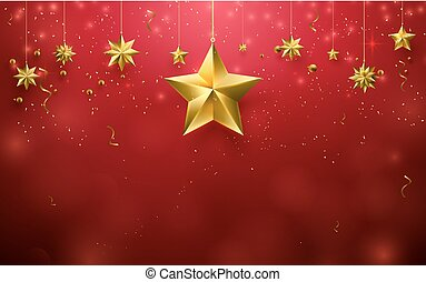 Christmas stars ornament hanging on red background