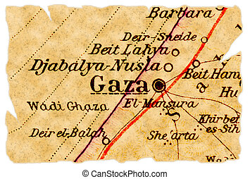 Gaza old map - Gaza, Palestine on an old torn map from 1949,...