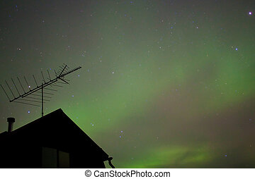 Northern lights Aurora borealis substorm - Bright northern...