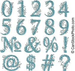 Vintage fishnet (floral) numeric figures. - Set of fishnet...