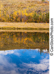 Fall in Yukon Territory, Canada, reflections on water surface