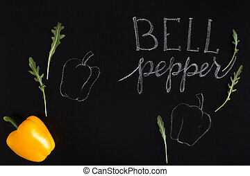 Shinny yellow bell pepper with the inscription - Fresh...