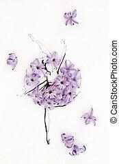 Hand drawn ballerina wearing dress made of natural hyacinth...