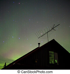 Northern lights (Aurora borealis) substorm - Bright northern...